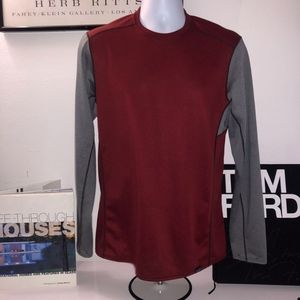 Patagonia Mens Gr/Burgundy L/Sleeve T-Shirt Size M